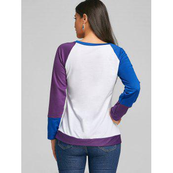 Raglan Long Sleeve Color Block Top - PURPLE L