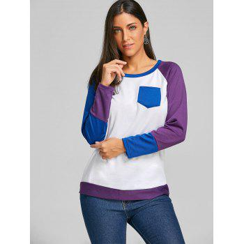 Raglan Long Sleeve Color Block Top - PURPLE XL