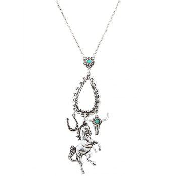 Faux Turquoise Horse Floral Teardrop Sweater Chain - SILVER SILVER