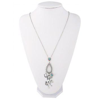 Faux Turquoise Horse Floral Teardrop Sweater Chain -  SILVER