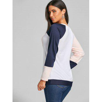 Raglan Long Sleeve Color Block Top - ORANGEPINK ORANGEPINK