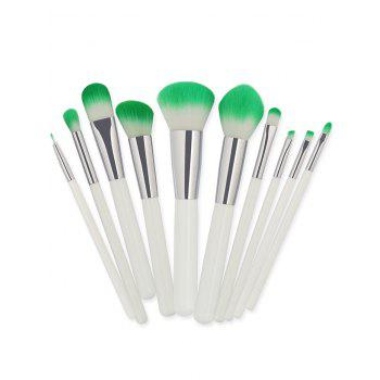 10 Pieces Two Tones Bristles Makeup Brush Set -  WHITE