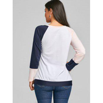 Raglan Long Sleeve Color Block Top - ORANGEPINK S
