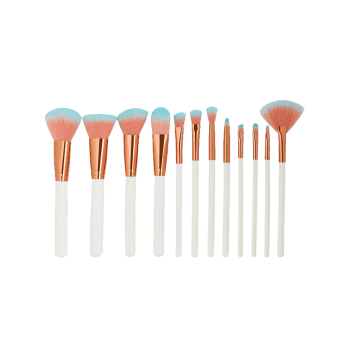 12 Pieces Two Tones Bristles Makeup Brushes Set - WHITE