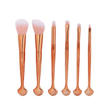 6 Pcs Shell Handle Makeup Brush Set - ROSE GOLD