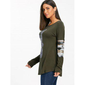 Christmas Deer Patterned Sequin Long Sleeve Top - ARMY GREEN XL