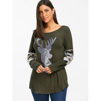 Christmas Deer Patterned Sequin Long Sleeve Top - ARMY GREEN ARMY GREEN
