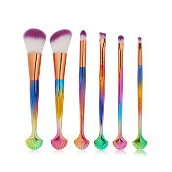 6 Pcs Shell Handle Makeup Brush Set - COLORFUL COLORFUL