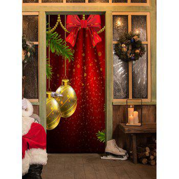 Christmas Bowknot Balls Pattern Door Stickers - RED 38.5*200CM*2PCS
