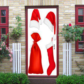 Christmas Costume Pattern Door Stickers - RED 38.5*200CM*2PCS