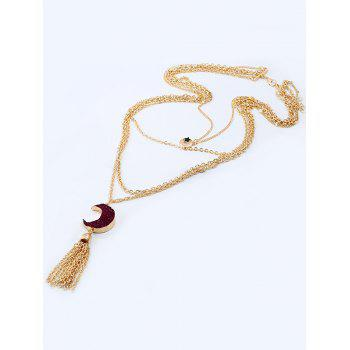 Natural Stone Moon Fringed Star Layered Necklace - DARK RED