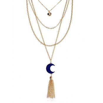 Natural Stone Moon Fringed Star Layered Necklace - INK BLUE INK BLUE