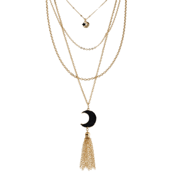 Natural Stone Moon Fringed Star Layered Necklace -  BLACK
