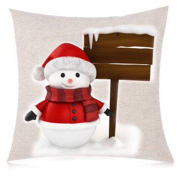 Christmas Snowman Landmark Printed Throw Pillow Case - RED/WHITE RED/WHITE