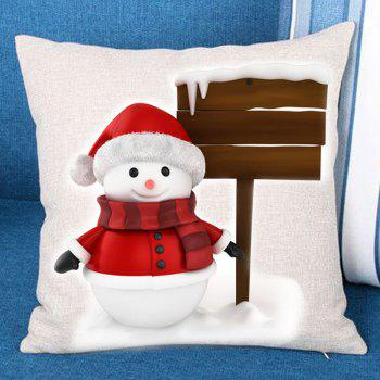 Christmas Snowman Landmark Printed Throw Pillow Case - RED AND WHITE RED/WHITE
