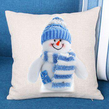 Snowman Printed Linen Throw Pillow Case - BLUE AND WHITE BLUE/WHITE