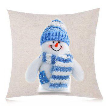 Snowman Printed Linen Throw Pillow Case - BLUE/WHITE W18 INCH * L18 INCH
