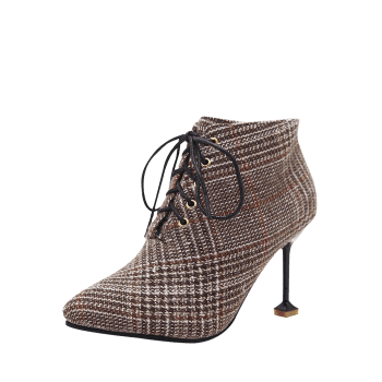 Bottines pointues en tweed pied-de-poule - Brun 39