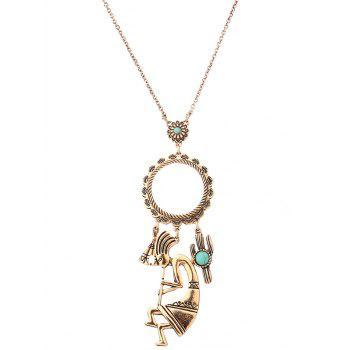 Faux Turquoise Cactus Floral Sweater Chain - GOLDEN GOLDEN