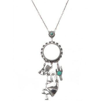 Faux Turquoise Cactus Floral Sweater Chain - SILVER SILVER