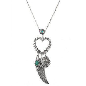 Faux Turquoise Indian Wing Heart Sweater Chain - SILVER SILVER