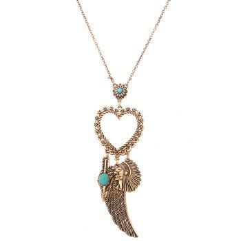 Faux Turquoise Indian Wing Heart Sweater Chain - GOLDEN GOLDEN
