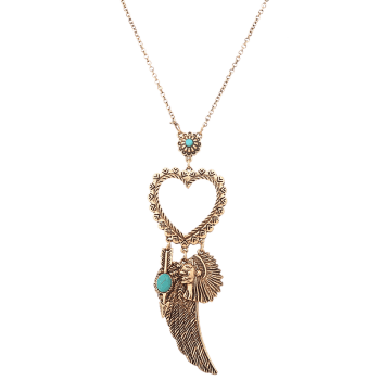 Faux Turquoise Indian Wing Pull chaîne de coeur - Or