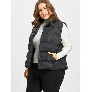 Plus Size Padded Button Up Waistcoat - BLACK 3XL