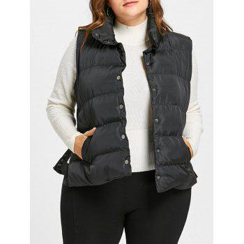 Plus Size Padded Button Up Waistcoat - BLACK BLACK