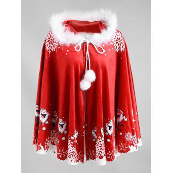 Christmas Printed Velvet Hooded Cape Coat - RED/WHITE RED/WHITE