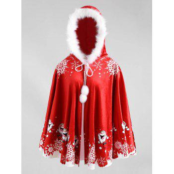 Christmas Printed Velvet Hooded Cape Coat - RED AND WHITE RED/WHITE