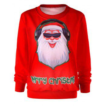 Santa Claus Graphic Merry Christmas Sweatshirt - RED RED