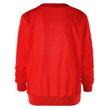 Sweat-shirt graphique joyeux Noël de Santa Claus - Rouge 2XL