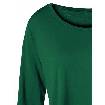 Plus Size Two Tone Color Asymmetric Top - GREEN 5XL
