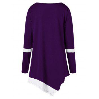 Plus Size Two Tone Color Asymmetric Top - PURPLE 2XL