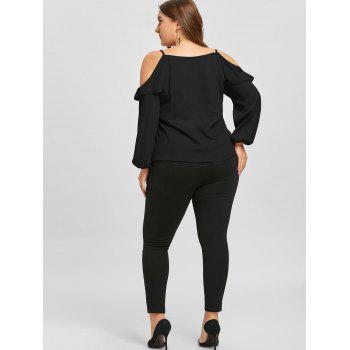 Plus Size Ruffled Long Sleeve Chiffon Cold Shoulder Top - BLACK XL