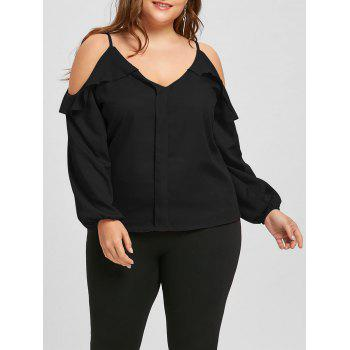 Plus Size Ruffled Long Sleeve Chiffon Cold Shoulder Top - BLACK BLACK