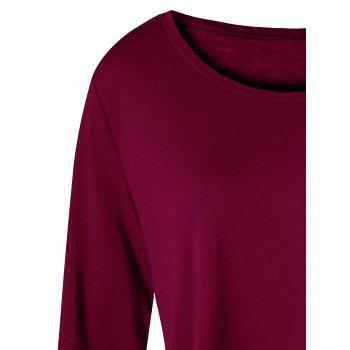 Plus Size Two Tone Color Asymmetric Top - WINE RED WINE RED