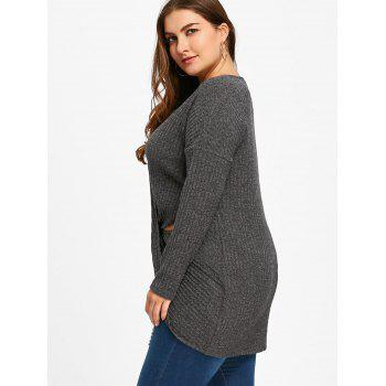 Plus Size Keyhole Neck Crossover Knitwear - BLACK GREY BLACK GREY
