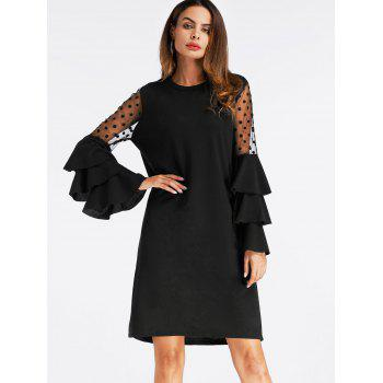 Mini Bell Sleeve Mesh Insert Shift Dress - BLACK BLACK