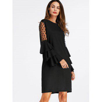Mini Bell Sleeve Mesh Insert Shift Dress - BLACK L