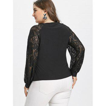 Crinkle Plus Size Sheer Long Lace Sleeve T-shirt - BLACK 4XL