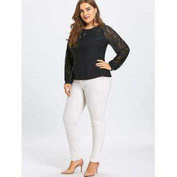 Crinkle Plus Size Sheer Long Lace Sleeve T-shirt - BLACK BLACK