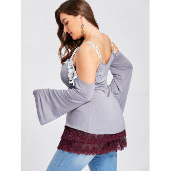 Plus Size Tiered Sheer Lace Extender Skirt - WINE RED XL