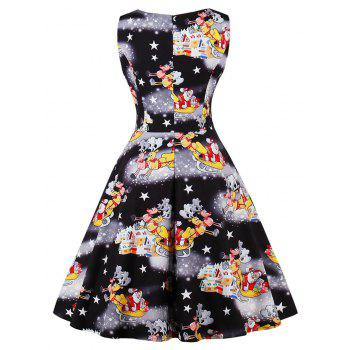 Vintage Santa Claus Print Christmas Party Dress - BLACK S