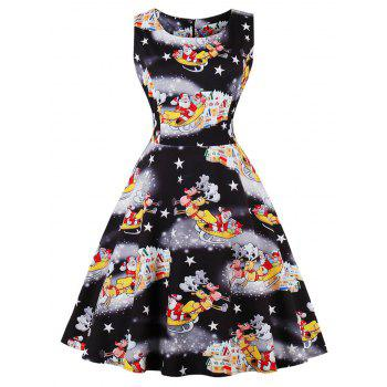 Vintage Santa Claus Print Christmas Party Dress - BLACK BLACK
