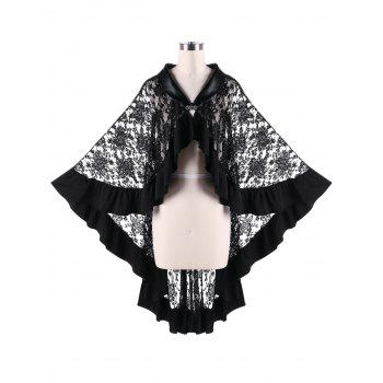 Sheer Ruffle Trim Lace Cape