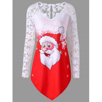 Christmas Plus Size Lace Panel Santa Claus T-shirt
