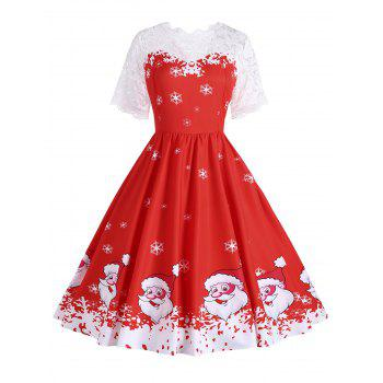 Plus Size Santa Claus Snowflake Christmas Dress - RED RED