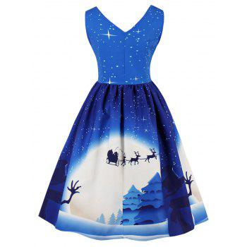 Vintage Christmas Moon Print Pin Up Dress - BLUE L